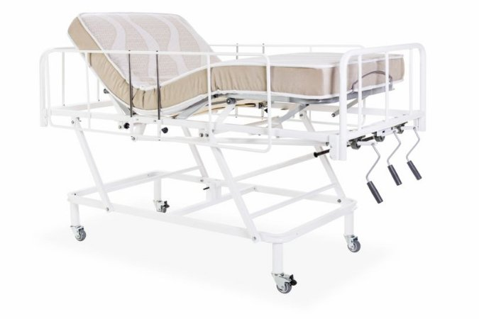 Cama Hospitalar 3 Manivelas com Elevação do Leito
