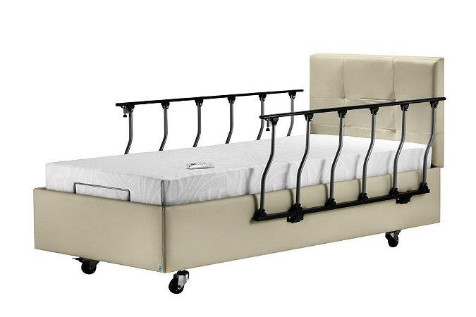 Cama Hospitalar Residencial Motorizada Firenzi + Colchão articulado + Grades laterais + Cabeceira courino