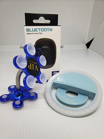 KIT SELFIE NO ESPELHO AZUL ( Ventosa Premium 360° + Controle Bluetooth Universal + Selfie Ring Light)
