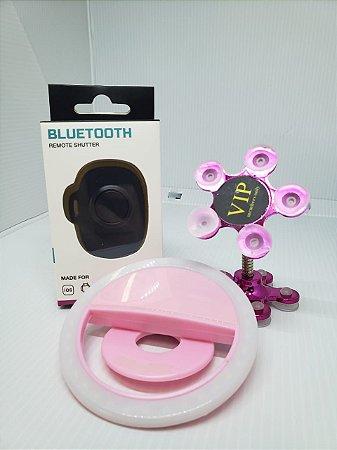 KIT SELFIE NO ESPELHO ROSA  ( Ventosa Premium 360° + Controle Bluetooth Universal + Selfie Ring Light)