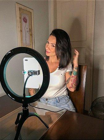 Gekko Luz Selfie Profissional 10 POLEGADAS PRETO+ POWER BANK + KIT SELFIE NO ESPELHO DE BRINDE