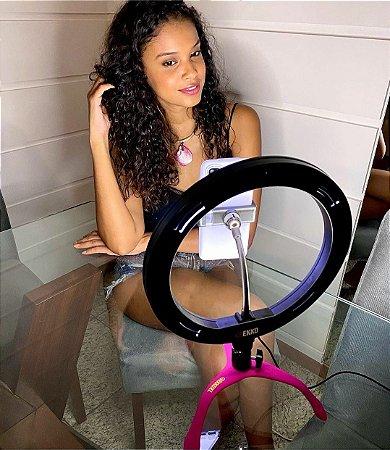 Gekko Luz Selfie Profissional 10 POLEGADAS ROSA + POWER BANK+ controle bluetooth de brinde