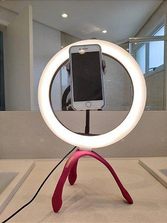 Gekko Luz Selfie Profissional 10 POLEGADAS ROSA + Controle Bluetooth Universal de Brinde