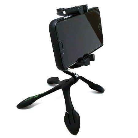 GekkoPod para Celular, GoPro e Câmera Fotográfica Preto com o controle bluetooth