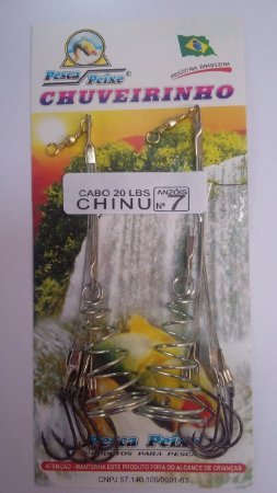 CHUVEIRO PESCA PEIXE AÇO CHINU C/ 2