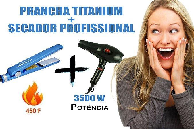 Prancha Titanium Profissional 450º F + Secador Profissional