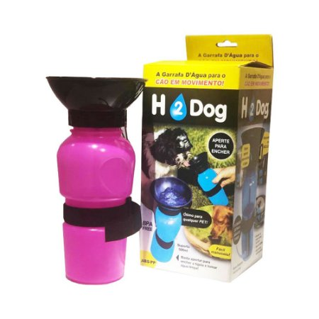 Bebedor Garrafinha Squeeze portátil para passeio Rosa H2 Dog