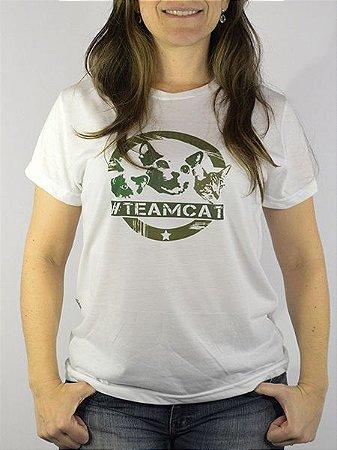 Camiseta Baby Look Estampa Team Cat