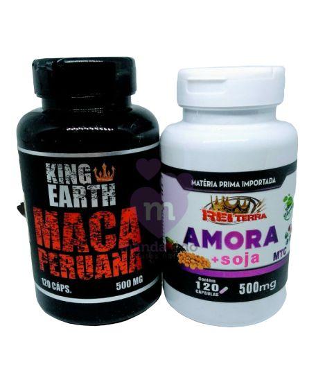 Kit Menopausa: Maca Peruana e Amora c/ Soja 500 mg 240 - Rei Terra