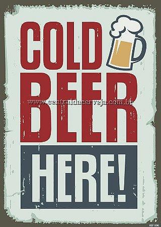 Placa Decorativa Vintage Cold Beer Here 20x30