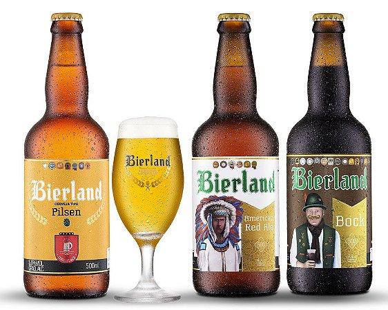 Kit Cerveja Artesanal Bierland 3 Cervejas + Copo