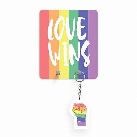 Porta Chaves com Chaveiro - Love Wins