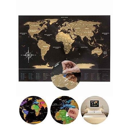 Pôster Plástico Mapa Mundi Raspadinha - Gold
