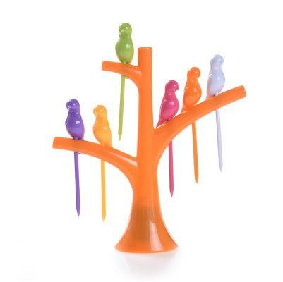 Pegador de Petiscos Passaros - Árvore Laranja