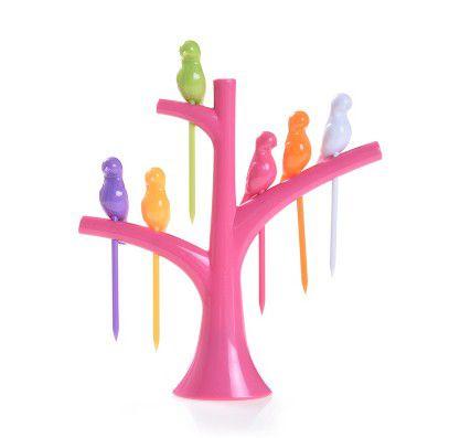 Pegador de Petiscos Passaros - Árvore Rosa