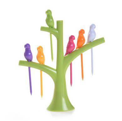 Pegador de Petiscos Passaros - Árvore Verde