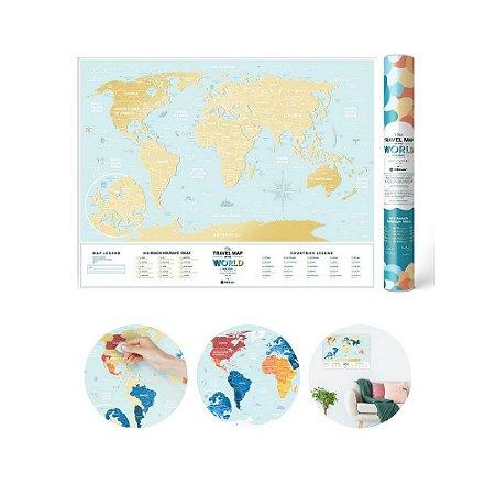 Mapa Mundi Raspadinha - Azul Claro