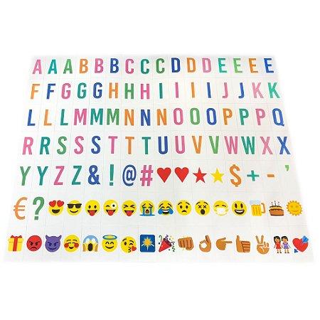 112 Letras Coloridas com Emoji para Luminária Letreiro de Cinema - Lightbox