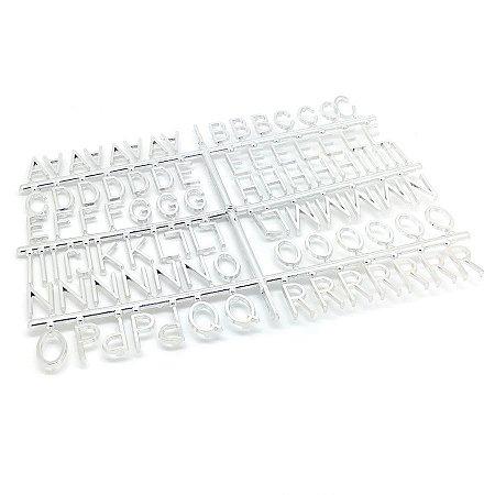 184 Letras e Números para Mural Letreiro Letter Board - Prata