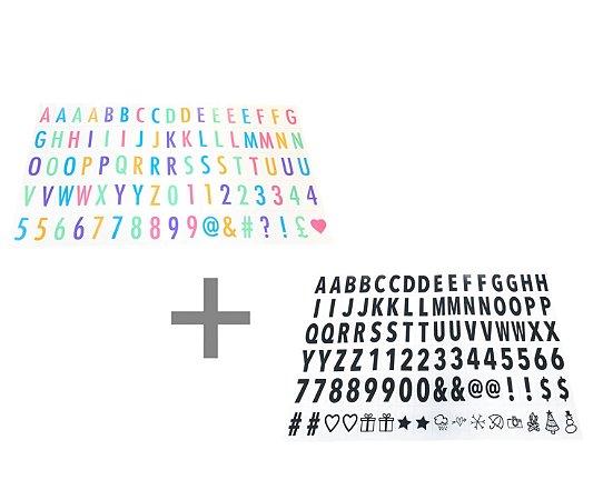 Kit Letras Pretas e Coloridas para Luminária Letreiro de Cinema Lightbox A4