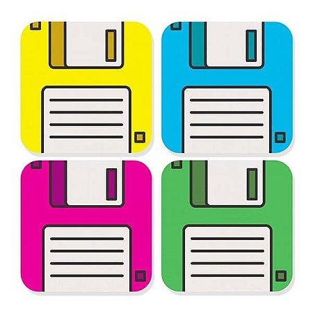 Porta Copos - Disquete Retro - 4 uni