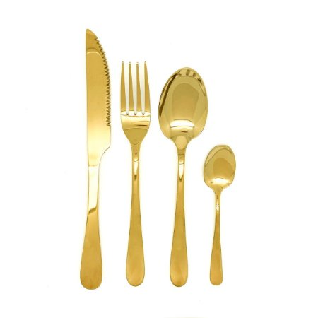 Faqueiro Dourado 24 Pçs Inox - Talheres Faca Garfo Colher e Sobremesa