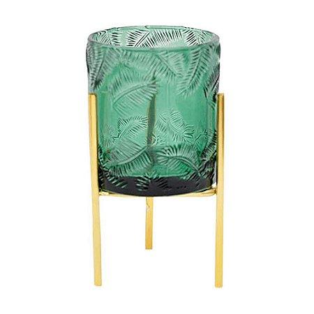 Vaso de Vidro Verde Porta Velas com Suporte Dourado Palmeiras A