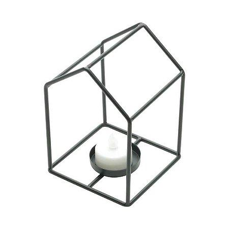 Castiçal de Metal Formato Casa