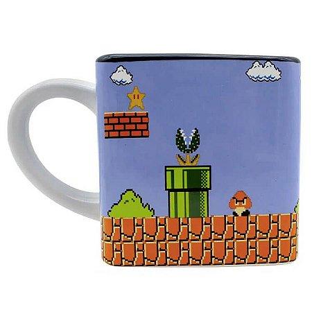 Caneca Quadrada Fases Game - Mario Bros