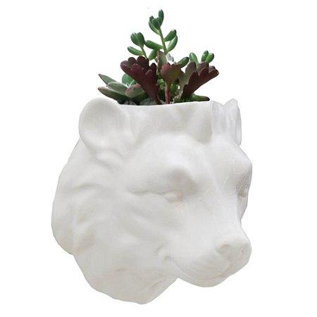 Vaso de Parede Cachepot Leão Branco Porcelana
