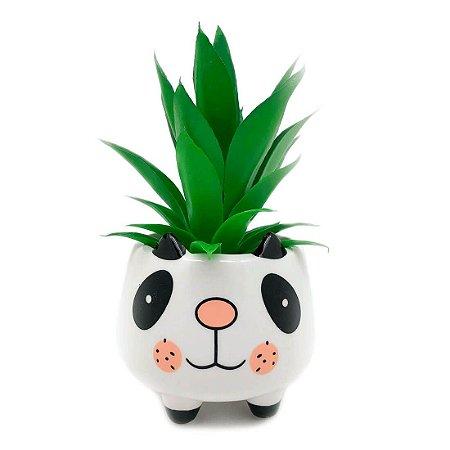 Vaso Cachepô em Cerâmica Panda - Branco Pequeno MD3