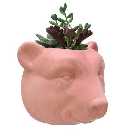 Vaso de Parede Cachepot Urso Rosa Cerâmica