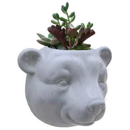 Vaso de Parede Cachepot Urso Cinza Cerâmica