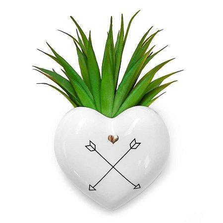Vaso de Parede Cachepot Coração Flechas