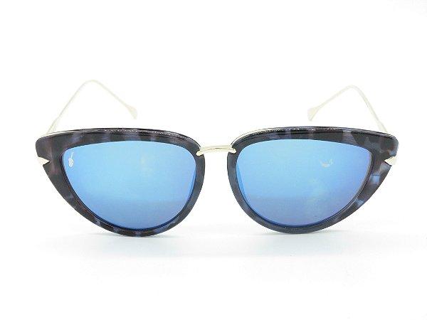 Óculos solar Prorider preto com detalhe de onça e lente azul 5239