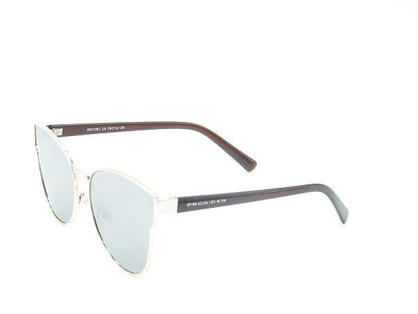 Óculos solar Prorider prata com lente espelhada prata/aste marrom D071001C8