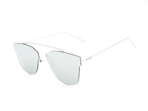 Óculos solar Prorider prata com lente espelhada prata GRECIA