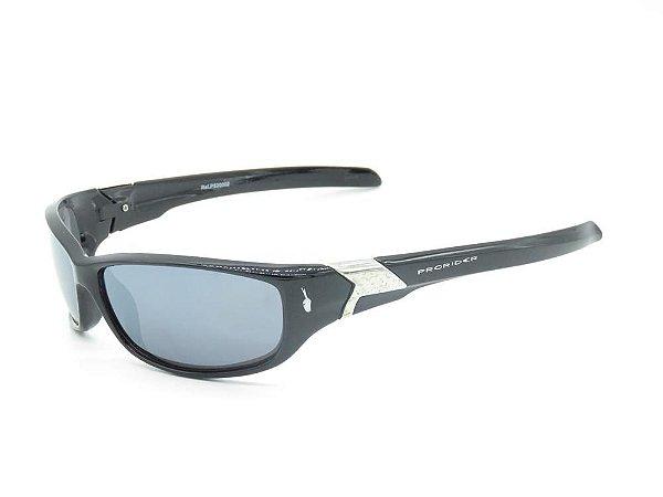 Óculos solar Prorider preto com detalhe dourado na aste PS20002