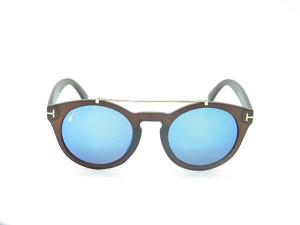 Óculos solar Prorider marrom fosco com lente espelhada azul/detalhes em dourado YD1606C3