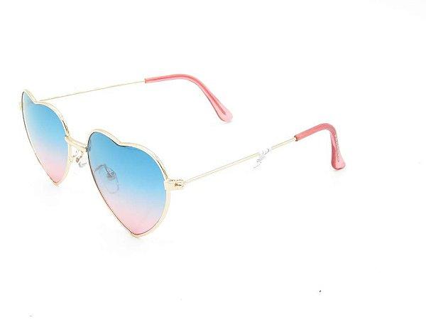 Óculos Solar Prorider Infantil dourado com lente degrade verde/rosa CALY21
