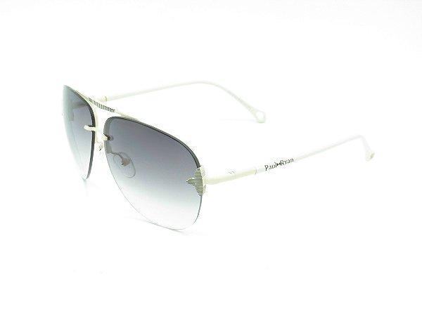 Óculos solar Paul Ryan branco com lente degrade 201SC3