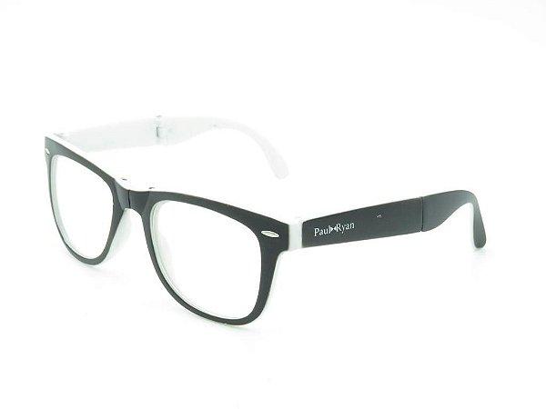 Óculos de grau Paul Ryan branco e preto fosco D8501