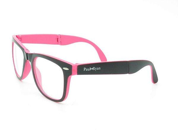 Óculos de Grau Paul Ryan Preto e Rosa Fosco - D8501-1