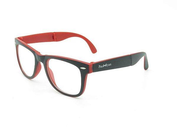 Óculos de grau Paul Ryan preto e vermelho D8501-2