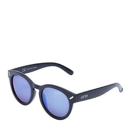 Óculos Solar Otto Preto Fosco&dourado com lente azul YD1460C3
