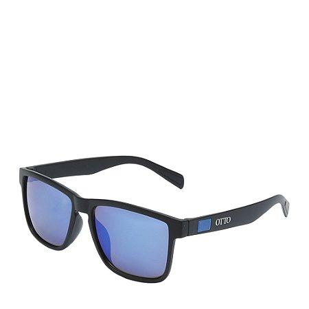 Óculos Solar Otto preto fosco com detalhe azul Z074