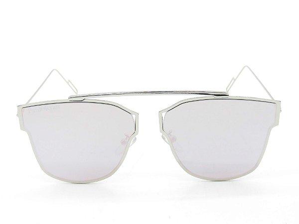 Óculos Solar Paul Ryan Prata com lente espelhada rosa KAYAKAN