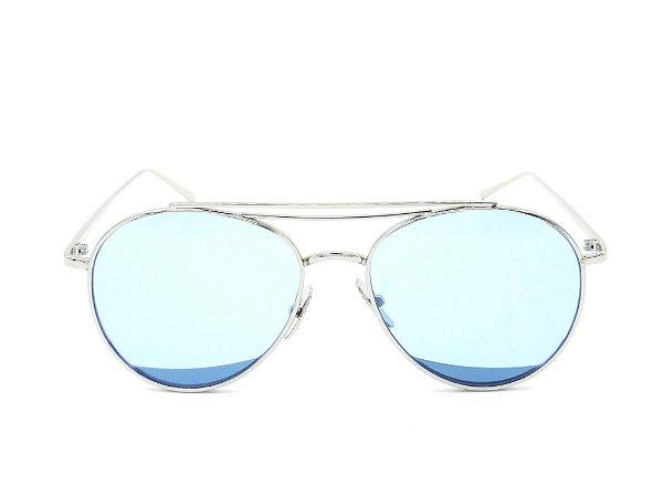 Óculos solar Paul Ryan prata com lente azul KEVIN