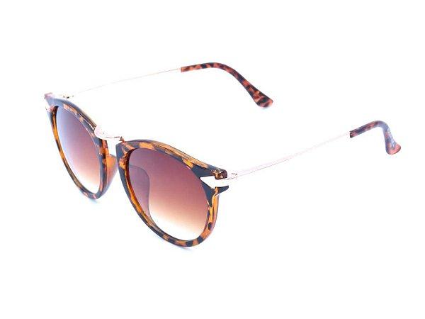Óculos solar Prorider dourado com animal print tartaruga e lente degrade marrom