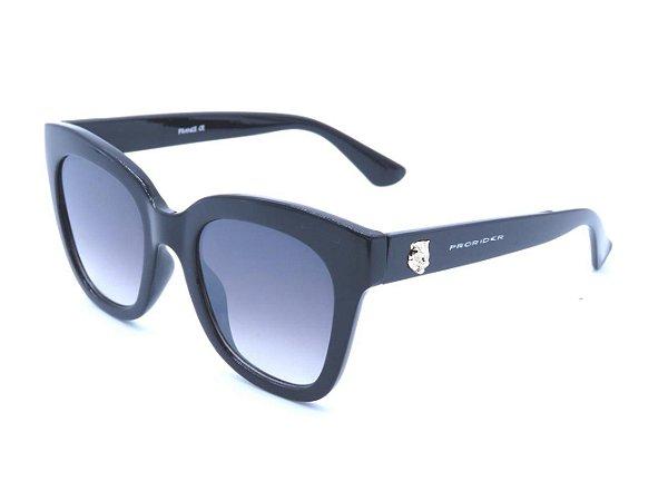 Óculos solar Prorider preto com detalhe em dourado e lente degrade HP5497C2